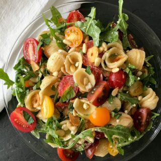 Tomato & Goat Cheese Orecchiette with Wilted Greens